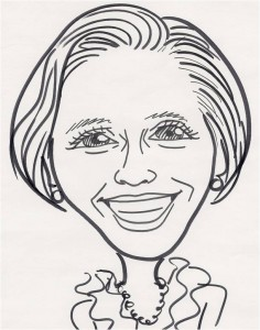 A drawing in black pen of Livia´s smiling face, short channel hairstyle, earrings and necklace, blouse with ruffles around the neck.