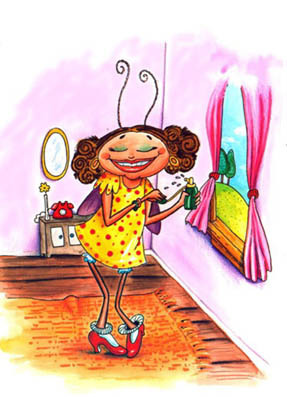 Desenho de Dona Baratinha, sorridente, com batom vermelho e sombra nos olhos, cabelo de cachinhos, usando vestido amarelo de bolinhas vermelhas e sapatos vermelhos, perfumando-se de frente para a janela.
