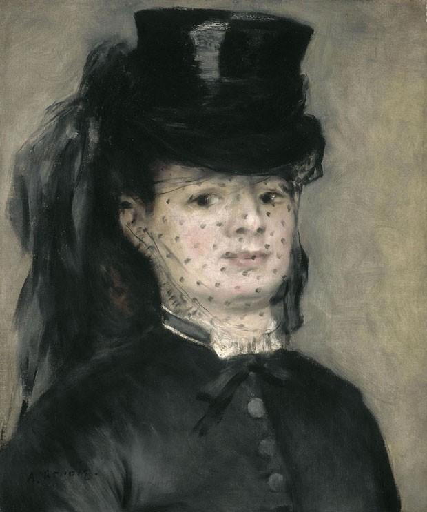 Madame Darras, óleo sobre tela de Auguste Renoir, 1868. Descrição no corpo do texto.