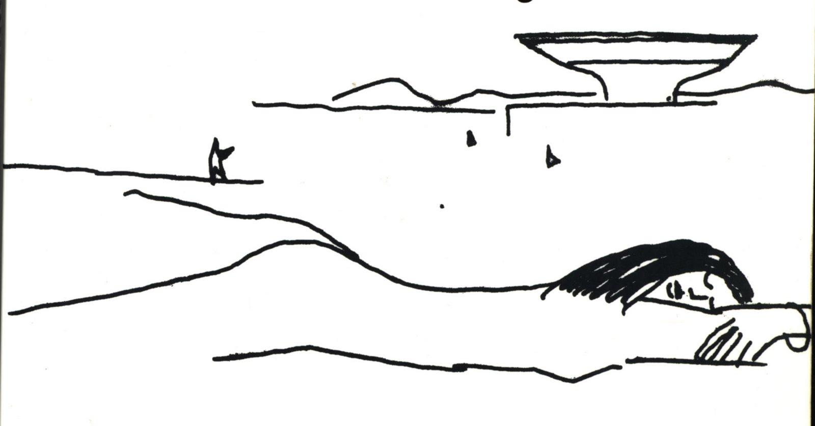 O desenho de Niemeyer, em nanquim sobre papel branco, mostra a silhueta de uma mulher nua, deitada de bruços, com a cabeça sobre os braços, os olhos fechados, o cabelo preto sobre seus ombros. Logo acima dela, no lado direito, o contorno de uma pessoa que parece apontar para o Museu de Arte Contemporânea de Niterói, construção em forma de prato ou de disco voador, com montanhas ao fundo, no lado superior direito.