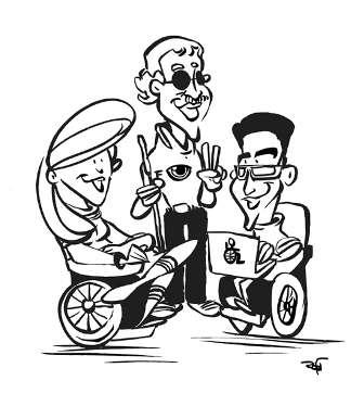 Desenho em preto e branco dos Super Normais: Mirella, uma jovem cadeirante com cabelos longos, Manoel, um jovem com baixa visão, óculos escuros e bigodes, e Rafael, um jovem cadeirante, com cabelos pretos e óculos. Manoel está em pé no meio dos dois e faz um V de vitória com os dedos.