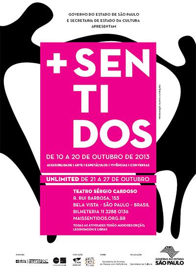 O flyer com fundo branco e uma caixa pink no centro com o título e informações de horário e local escritos em branco, é ilustrado pelo desenho estilizado da silhueta de duas pessoas, na cor preta, com as mãos dadas formando um arco.