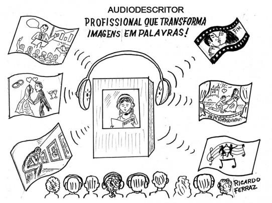 A charge de Ricardo Ferraz, intitulada: AUDIODESCRITOR, PROFISSIONAL QUE TRANSFORMA IMAGENS EM PALAVRAS, mostra uma audiodescritora com headset e roteiro em mãos, dentro da cabine, em torno da qual está um grande fone de ouvido. Várias pessoas, algumas com fones de ouvido, estão sentadas em frente da cabine e dela saem ondas sonoras que apontam para várias possibilidades de uso da audiodescrição, como: palestra, filme, peça, musical, museu e casamento.