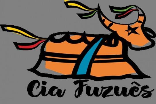 Desenho estilizado do boi bumbá, na cor marrom, com uma estrela preta na cabeça, uma faixa azul no corpo e fitas coloridas nos chifres e rabo. Logo abaixo do desenho o nome da Cia Fuzuês.