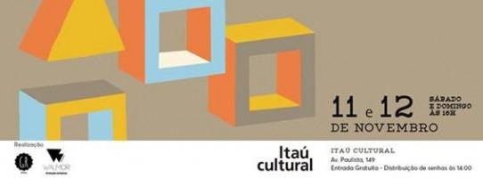 O poster com fundo bege, escrito com letras pretas, é ilustrado no lado esquerdo, por três cubos e um triângulo nas cores azul, laranja, amarelo e cinza, que parecem flutuar. No rodapé, as logomarcas dos realizadores e o endereço do Itaú Cultural.